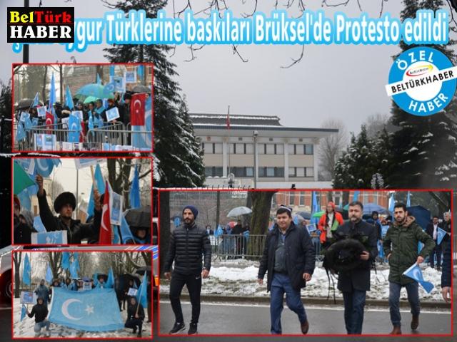 Çin'in Uygur Türklerine baskıları Brüksel'de Protesto edildi.