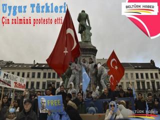 Uygur Türkleri Brüksel'de Çin zulmünü protesto etti